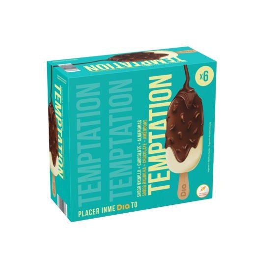 TEMPTATION Gelados Baunilha + Chocolate + Amêndoas 6x90 g