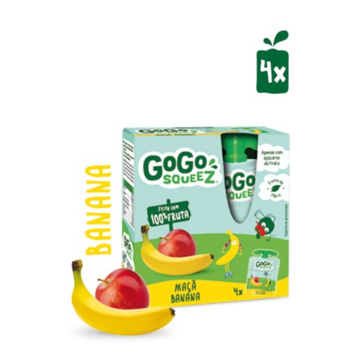 GOGO SQUEEZ Fruta Saqueta Maçã Banana 4x90 g