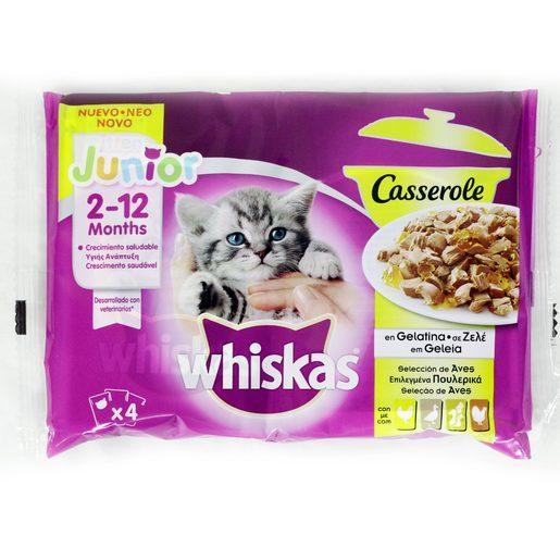WHISKAS Alimento Húmido Para Gatos de Aves 4x100 g