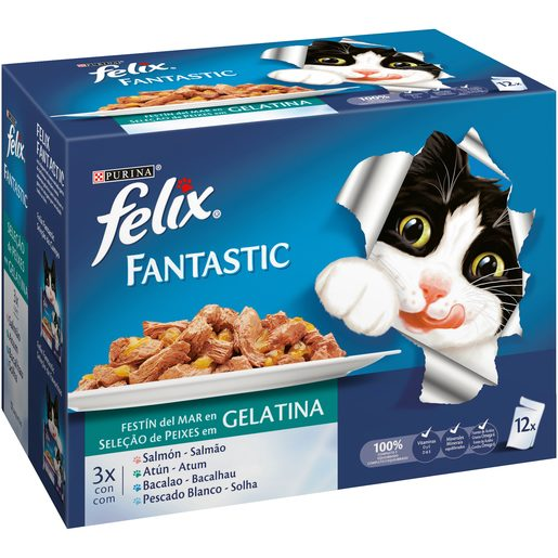 FELIX FANTASTIC Comida Húmida para Gato Seleção de Peixes Purina 12x100 g