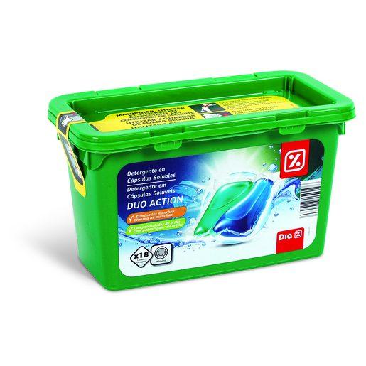 DIA Detergente Roupa 2 Em 1 Cápsulas Dupla Ação 18 Un