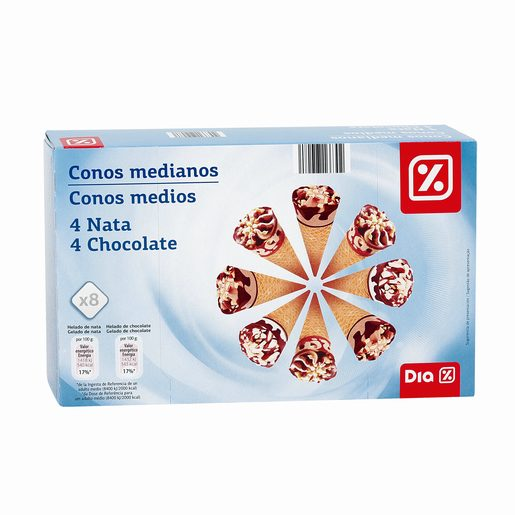 DIA Gelados Multipack Mini Cones de Nata 4 Un/Chocolate 4 Un 8x60 ml