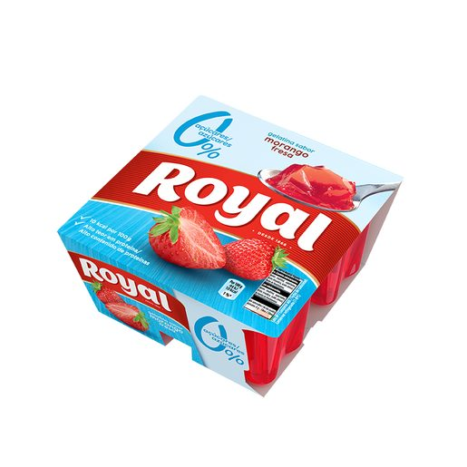 ROYAL Gelatina de Morango Light 10 Kcal 4x100 g