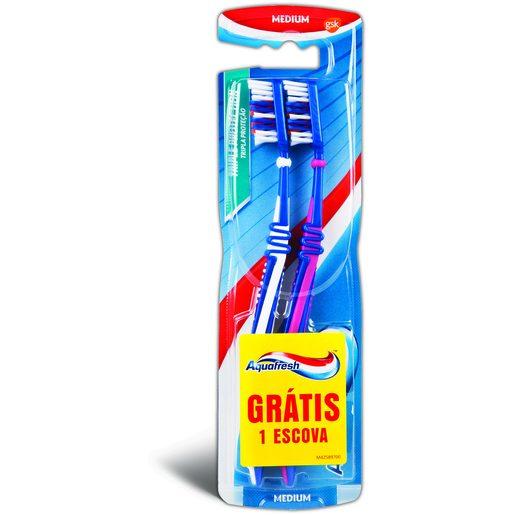 AQUAFRESH Escova de Dentes Tripla Proteção Média 2 Un